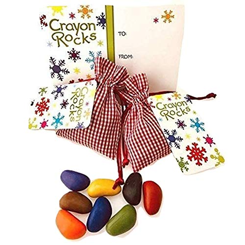 Crayon Rocks, Crayons in a Rock Shape,16 Count, Tripod Grip For Handwriting Development in Kids and Toddlers, Fun & Educational, Creative Activity, Comes With Red Gingham Bags - 2 packs of 8 Colors