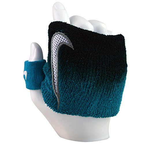 Nike Unisex Swoosh Wristband sport Donna e Uomo Fascia regolabile Blu-Nero