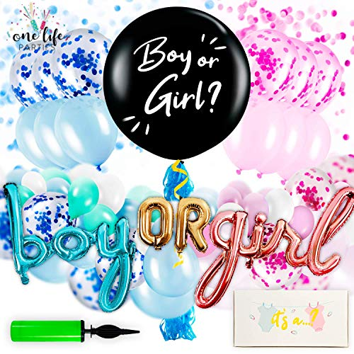 Gender Reveal Party Supplies  Decorations Kit for Baby Boy or Girl with Confetti Pink and Blue Balloons Large Black Balloon and Banner Balloons  97 Pieces