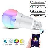 Smart Wifi Lampe, Wifi LED Glühbirne Hergestellt aus Aluminiumlegierung, E27, 7W, 650LM steuerbar...