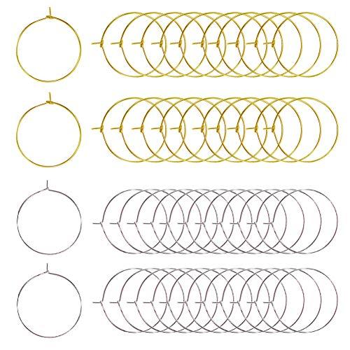 TOAOB 600 pezzi Anelli in Vetro di Vino Metallo 25 mm Orecchini a Cerchio Ciondoli per Creazione Gioielli Fai da Te Segnabicchieri Decorazione di Feste Argento e Oro Tono