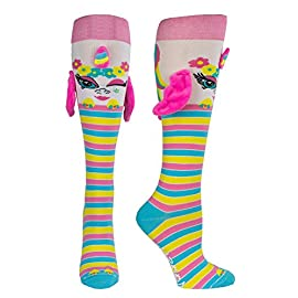 Moosh walks funny fun 3d socks for girls and women   crazy novelty animals unicorn and more   age 9+ 1 👍 high quality comfortable girls knee high socks with soft 3d elements   non slip bottoms   wacky socks for girls 📏 sizes fit 9 years old and up   silly socks for women, teens and young girls   brown, pink, green, yellow, blue, lavender, grey socks   it will make you shout moosh moosh 🤸 for boots   flats   pilates   exercise   running   relaxing   eating pizza socks   non slip socks for traction during sports