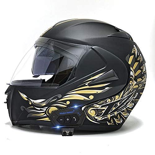 Bluetooth Integrado Modular Flip Up Front Motorcycle Casco Motorbike Casco Modular Casco con Anti-Niebla Viseras Duales para Hombres Mujeres,Style 6,S
