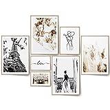 BLCKART Flores Secas Póster Set Beige Ambos Caras Impresión Decoración Dormitorio Cuadros Flores Secas Decoración de Pared Salón (7 Set   M   4 x A4   1 x A5   2 x 10 x 15, Love Paris)