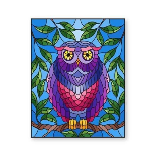 Bunte Eule, die auf einem Zweigplakatdruck-Waldtierillustrationskunst-Leinwandmalerei-Bildhauptwandkunst rahmenlose dekorative Leinwandmalerei H55 60x80cm sitzt