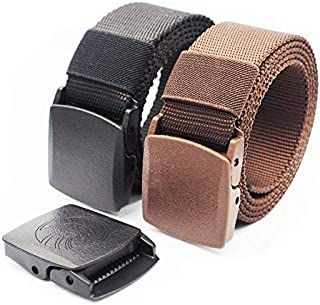 MSS Nylon Canvas Breathable Military Tactical Men & Women Waist Belt With Non Metallic Airport Security Friendly Plastic B...
