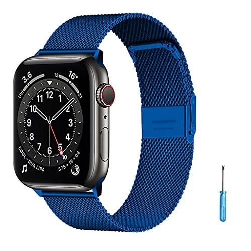Correa de la banda de reemplazo para las mujeres Hombres Bucle de malla de acero inoxidable, para el reloj de Apple 6 / SE / 5/4/3/2 / 1 38mm 40mm Correa de reloj de acero inoxidable para iWatch Serie