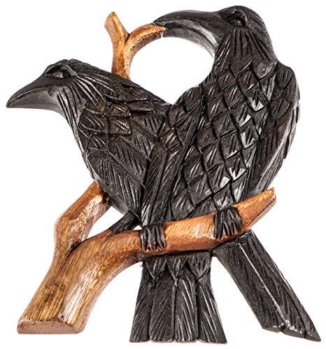 Windalf–Cuerno de Soporte de Hugin y Munin H: 22cm asatru Cuervos Deko Mano de Madera