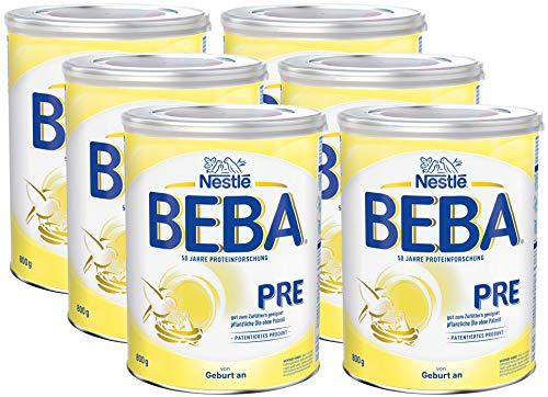 Nestlé BEBA Pre Anfangsmilch, Anfangsnahrung von Geburt an, 6er Pack (6 x 800g)