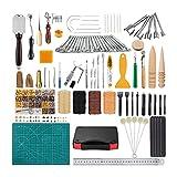 Kit de herramientas de carilla de cuero 99 PC, herramienta de bricolaje artesanal de cuero para coser de costura de mano, conjunto de estampados y maquinaria de silla de montar, talla de costura traba