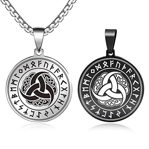 FLYUN Norse Viking Runes Amulet Necklace Women Men Yin Yang Wolf Vegvisir Aegishjalmur Valknut Tree of Life Triskele Talisman Pendant Scandinavian Celtic Odin Symbol Nordic Jewelry (E-Horns of Odin)