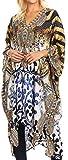 Sakkas 1822 - Vestido de Kaftan Boho Caftan Kaftan de Longitud Media para Mujer, Que Cubre Flowy Rhinestone - OW15-White - OS
