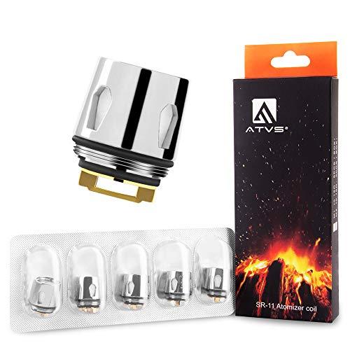 Résistance de cigarette électronique, Noyaux d'atomiseur de Rechange pour ATVS CASTAL E-cigarette et Atomiseur 3ml M-Tank,Lot de 5,0.15ohm,Sans Nicotine Ni Tabac.(M-R5)