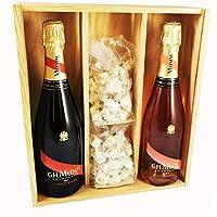 champagne mumm - cordon rouge/rosé & 2 * 150 grammi nocciola nougadets - jonquier deux frères - in scatola di legno
