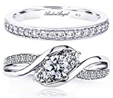 Engagement Ring Set Wedding Women Sterling Silver 925 Rhodium Plated Three Stone Cubic Zirconia AAAAA+ Alternative to Diamonds 0.75 Carat Jewelry Anniversary Valentines Promise Bridal Design A14