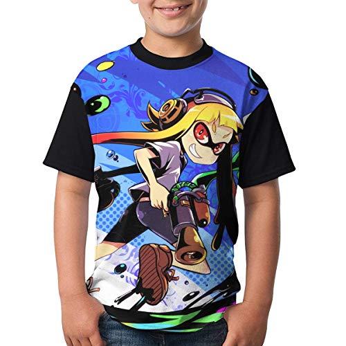 Cool-Splatoon 2 Boys Girls Camiseta de Manga Corta Crew-Neck Sports tee Shirts Tops