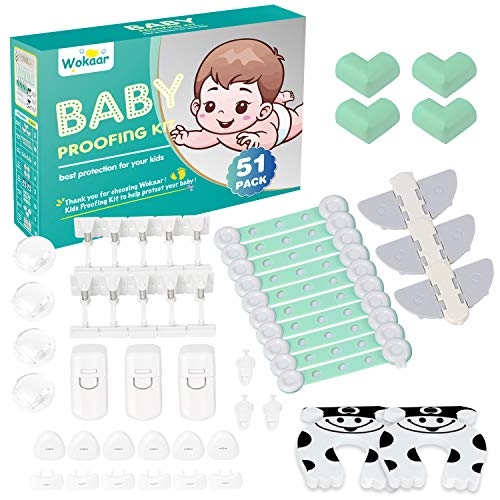 51 PCS Baby Proofing Kit for Home Safety,Cabinet and Drawer Locks for Kids,Inclues Adjustable Strap,Corner Protector,Outlet Plug, Door Finger Guards,Child Safety Kit