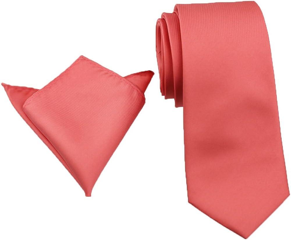 Coachella Ties Coral Pink Solid Color Necktie,skinny Tie/bowtie/pocket Square (8.5cm Skinny Tie+Pocket Square)