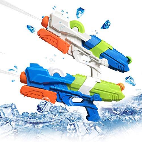 2 Pack Pistolas de Agua para niños Adultos, 10M Distancia de Disparo Super Soaker Chorro de Agua Piscina al Aire Libre Playa Arena Verano Juguetes Regalos