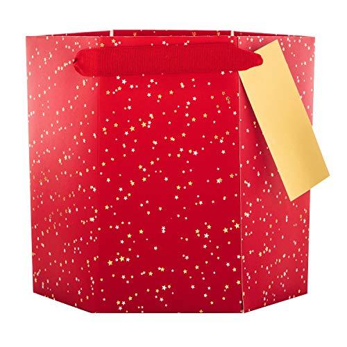 Kerstcadeau/Plant Tas van Hallmark - Rood en Goud Ster Ontwerp - Zeshoekige Bouw