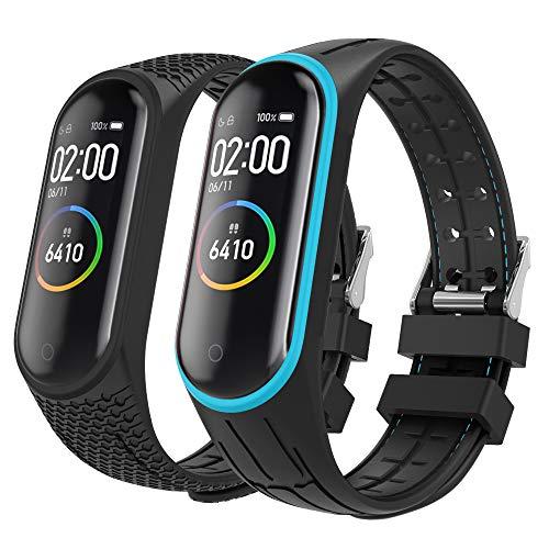MoKo 2-Pack Reloj Correa para Xiaomi Mi Band 3/Mi Band 4, Pulsera de Silicona, Correa de Reloj Deportivo, Banda de Reloj de Silicona - Azul Negro