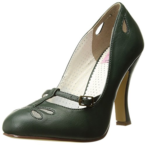 Pin Up Couture Damen SMITTEN-20 Pumps, Forest Green Faux Leather, 39 EU