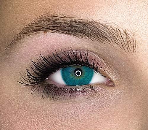 Kontaktlinsen farbig ohne Stärke farbige Jahreslinsen weiche Linsen soft Hydrogel 2 Stück Farblinsen + Linsenbehälter 0.0 Dioptrien natürliche Farben Serie Queen Marine (blau)