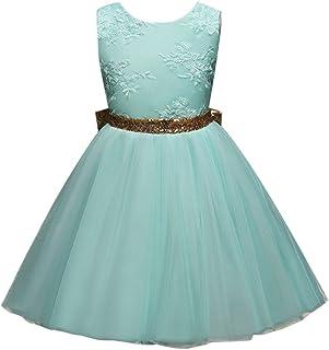 Zhhlinyuan 子供ドレス Girls Sleeveless Embroidery Flower Princess Dresses 女の子 ガールズ フォーマル 発表会 結婚式 入園式 演奏会 花嫁介添人 プリンセス ドレス