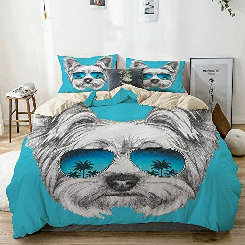 Juego de Funda nórdica Beige, Retrato de Yorkshire Terrier con Gafas de Sol de Espejo geniales, Arte Animal Lindo Dibujado a Mano, Juego de Cama Decorativo de 3 Piezas con 2 Fundas de Almohada