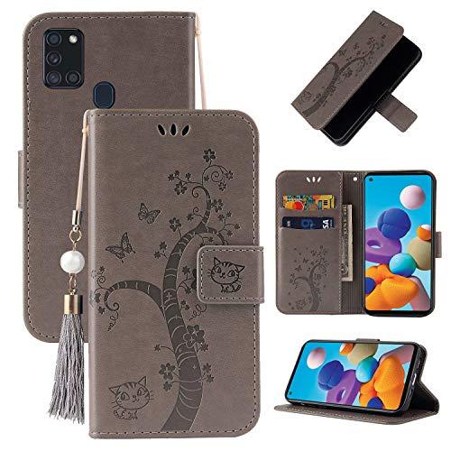 Miagon Brieftasche Flip Hülle für Samsung Galaxy A21S,Schön Schmetterling Baum Katze Design PU Leder Buch Stil Stand Funktion Handyhülle Case Cover,Grau