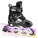 Patines en Línea Ajustables con LED Ruedas, ULIOLI Inline Skates Cómodo de Exterior e Interior para Niños y Adulto, Rollerblade con Ruedas Luminosas de PU para Principiantes (Tamaño 28-42) Negro