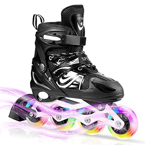 Pattini in Linea Regolabili con LED Ruote, ULIOLI Inline Skates Illuminate per Ragazzi/Bambini/Adulti, Pattini Fila Confortevole e Traspiranti con 8 Rotelle Illuminanti (EU 28-42) Nero