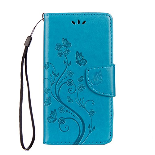 95Street BQ Aquaris X/BQ Aquaris X Pro Handyhülle Book Hülle BQ Aquaris X/BQ Aquaris X Pro Hülle Klapphülle Tasche im Retro Wallet Design mit Praktischer Aufstellfunktion - Etui Blau