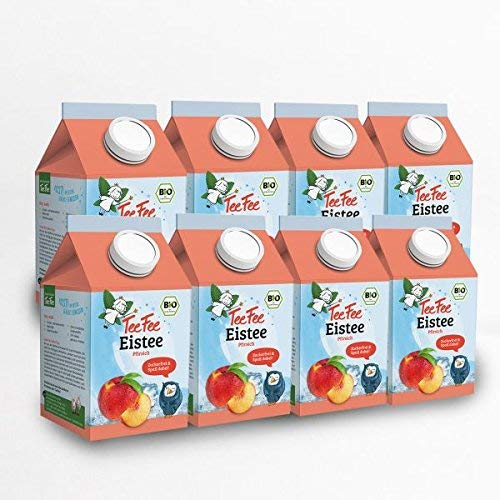 TeeFee Bio Eistee Pfirsich, 8er Pack (8 x 500ml) | zuckerfrei | ohne Kalorien | kalter Tee für Klein und Groß