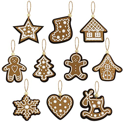 Athoinsu Rustic Christmas Tree Decorations Set of 10 Gingerbread Snowflake Star Heart House Xmas Tree Stocking Elk Hanging Ornaments Home Holiday Party Props Decor (Style 2)