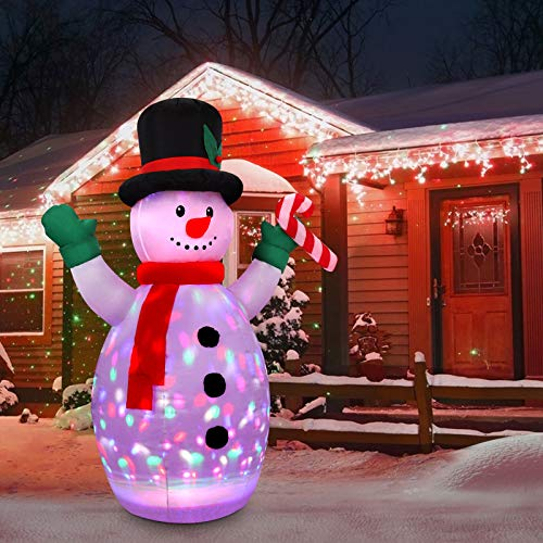 CONMIXC 5FT Christmas Inflatables Snowman with Multi-Color Rotating Disco Lighting, Blow Up Inflatable Snowman Decorations, Xmas Inflatable Decor Blowups for Indoor Outdoor Outside Yard Garden Lawn