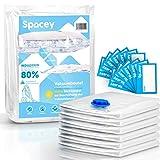 Spacey Jumbo Vakuumbeutel (6er Set) - 100x80cm - für Bettdecken, Bettwäsche, Kleidung für Staubsauger - GRATIS Etiketten -