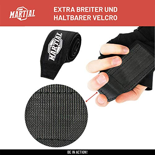 Boxbandagen von MARTIAL mit bestem Klett und Daumenschlaufe. Bandagen ohne Ausleiern für MMA, Boxen, Kickboxen Abbildung 2