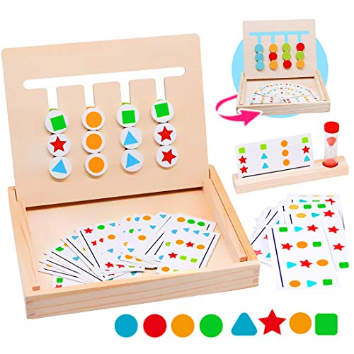 Zaloife Montessori Spielzeug Holz Puzzle Sortierbox Kinder Lernspielzeug mit Sanduhr Spiel, Holzspielzeug Kinderspielzeug, Spielzeug ab 3 4 5 Jahre alte Jungen und Mädchen, Kind Geschenk