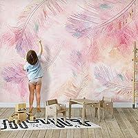 XIAOHUKK 自己粘着性の3D壁紙壁画ピンクの羽漫画写真アート壁画ウォールステッカーリビングルーム寝室家の装飾防水ステッカー