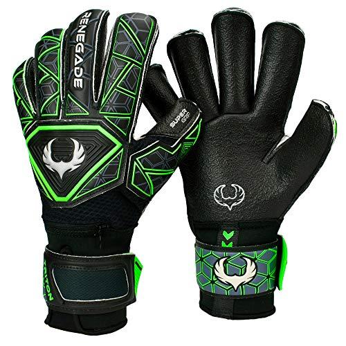 Renegade GK Triton Specter Goalie Gloves with Pro-Tek Finger Savers   3.5+3mm Super Grip & 4mm Duratek   Black & Blue Soccer Goalkeeper Gloves (Size 8, Youth-Adult, Roll Cut, Level 2)