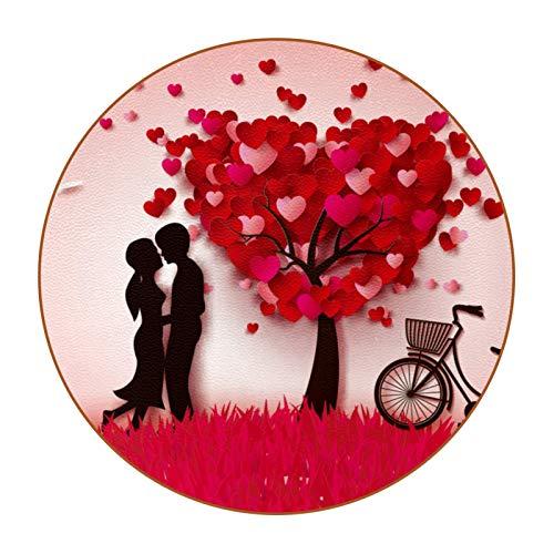 6 posavasos redondos de microfibra de piel antideslizante y resistente a los arañazos para el hogar, cocina, oficina, bar, decoración, árbol para amantes de la bicicleta, San Valentín