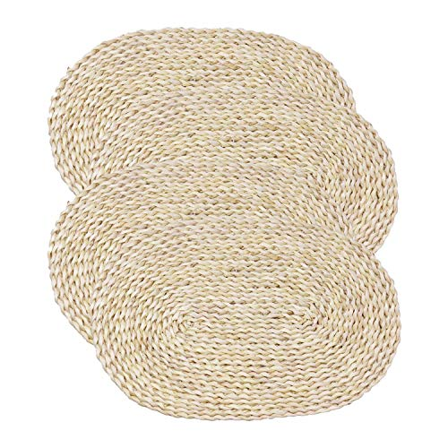 Gesh Geflochtene Tischsets aus Maisstroh, ovale Rattan-Platzsets, geflochtene Esstischmatten, natürliche, handgefertigte Tischsets, Isolierunterlage (30 x 45 cm, 4 Stück)