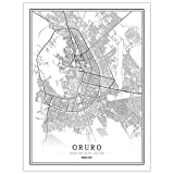SLYBDA Impresión Sobre Lienzo Cuadro Bolivia Oruro City Map Wall Artístico Impresión Moderna Decoración Hogar Estilo Blanco Y Negro Obra Arte Dormitorio Cocina Murales 40X50cm