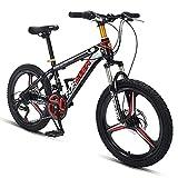 DJYD 20 Zoll Kinder Mountainbikes, 24 Speed-High-Carbon Stahl Hardtail All Terrain-Gebirgsfahrrad, Mountain Trail Bike mit Doppelscheibenbremse, Blau FDWFN (Color : Black)