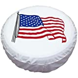 Tsofu Spare Tire Cover PVC Leather Waterproof Dust-Proof Universal Spare Wheel Tire Cover White Star Fit for Jeep,Trailer, RV, SUV and Many Vehicle(15' for Diameter 27'-29')