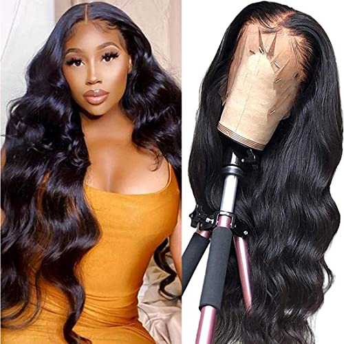 Lace Front Wigs Human Hair Body Wave, 13x4 Lace Frontal Wig Pre Plucked with Baby Hair, 100% Human Hair Wigs for Black Women 180% Denisty Brazilian Real Human Hair Natural Color(22inch)