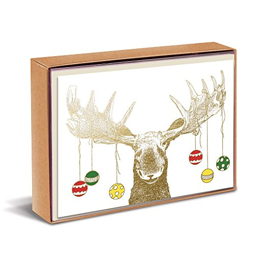 Graphique'Merry Moose' Antlers Ornament Boxed Holiday Cards, Pack of 15 Christmas Cards and Envelopes