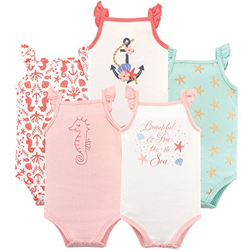 Hudson Baby Unisex Baby Cotton Sleeveless Bodysuits, Beautiful Sea, 9-12 Months