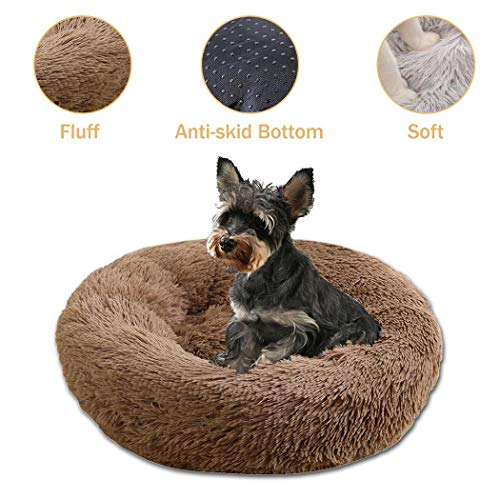 heekpek Round Plush Pet Bed Dog Cat Medium Large Bed Round Warm Bed Cuddler Kennel Soft Puppy Sofa Cat Cushion Bed Sleeping Bed Dogs Nest Bed Portable Washable